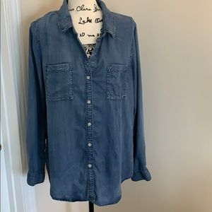 Thread and supply distressed jeans shirt
